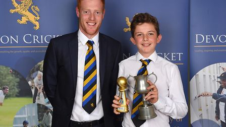 U13s Player of the Year Max Hancock with Ryan Stevenson (Hampshire) during the Devon Youth Cricket A