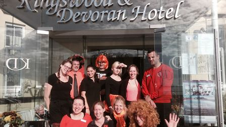 Team at The Kingswood and Devoran Hotel taking part in Sidmouth's Stand Up to Cancer day