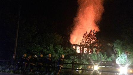 Derelict Ottermill Switchgear building in flames on Saturday