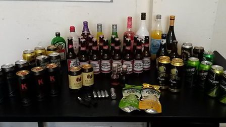 Alcohol confiscated by police during Sidmouth and Seaton carnival.