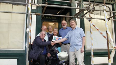 Dr Bob Symes with members of the Sid Vale Association outside their new HQ. Ref shs 1224-29-15TI. Pi