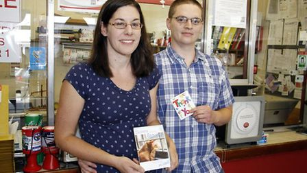Suzanne and Andrew Whitby at the post office at Sidford. Ref shs 3810-39-15TI. Picture: Terry Ife