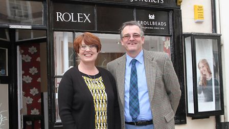 Set to sparkle: Haydn and Nicola Welch outside their new jewellery shop. Ref shs 4747-43-15SH. Pictu