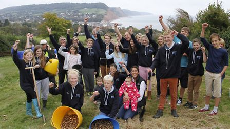 Sidmouth surf life saving club on Peak Hill planting bulbs. Ref shs 5060-43-15TI. Picture: Terry Ife