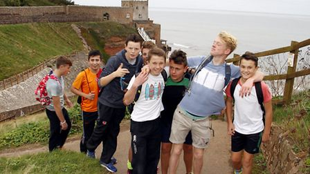 Sidmouth college students on their charity walk at Jaccob's ladder. Ref shs 5366-43-15TI. Picture: T
