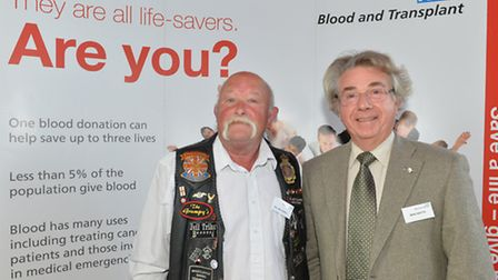 William Carnell and Mike Watts from Sidmouth were presented a medal for donating blood 100 times.