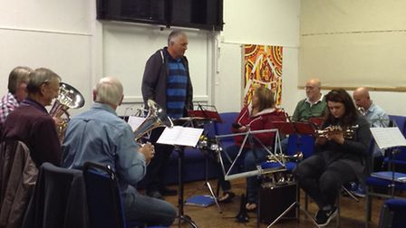 Ottery Silver Band rehearsing in the Station