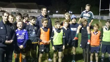 Sidmouth Under-13s with Exeter Chiefs
