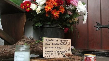 A floral tribute placed in the doorway of the Sidmouth Unitarian Church this week where a man believ
