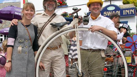 Alistair Cope with his son and daughter, Sebastian and Rachel, lead the Exmouth Velo Vintage ride ea