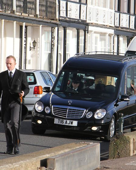 Fords of Sidmouth vehicles at the funeral of Derek Ford. Refshs 8003-50-15TI. Picture: Terry Ife