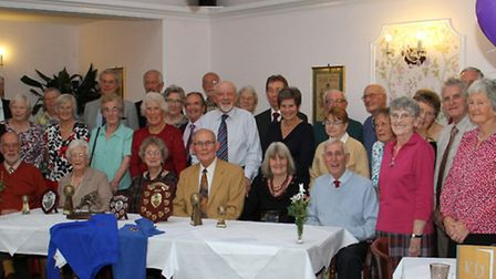 Members of the Sidford short mat bowls club at their annual christmas club lunch. Ref shs 7632-50-15