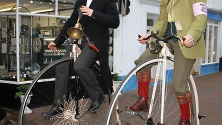 Alastair and Seb Cope at the Velo vintage in Sidmouth. Ref shs 7783-50-15TI. Picture: Terry Ife