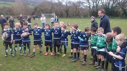Sidmouth Under-8s in their new reversable green and blue kit