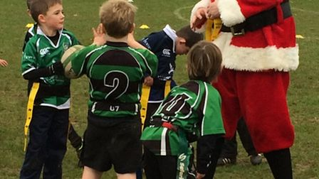 Father Christmas who officiated the Sidmouth versus Withycombe Under-7s