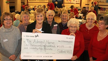 Marion Baker, president of Sidford WI presents a cheque to Linda Archard the trustee of Sidmouth mem