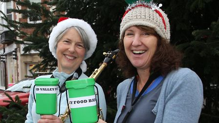 Jan McCann and Jackie Ensall known as Small Change are pictured busking some Festive tunes this week