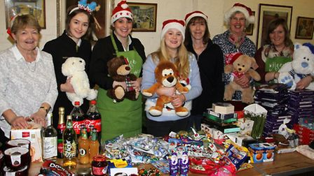 Volunteers about to pack christmas hampers at Sid valley's food bank. Ref shs 8230-51-15TI. Picture: