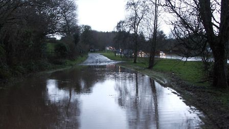 Flooded road opposite the Boyd in Sidmouth. Photo by Terry Ife. Ref shs 0946-04-14TI