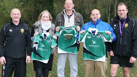 Pictured at the official handover of the new sponsored tops for the Under-7s and Under-8s: James Swa