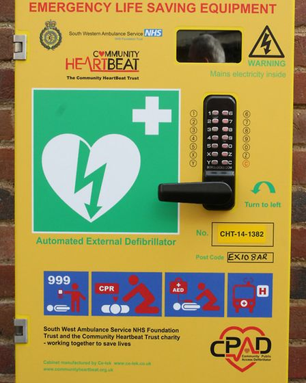 The new defibrillator now installed in the centre of the town. Ref shs 7586-48-15SH. Picture: Simon