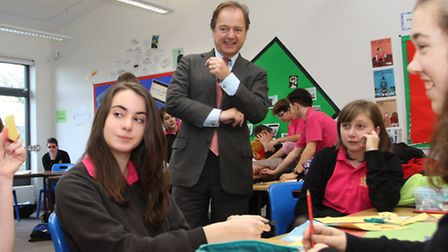 MP Hugo Swire visit the King's School this week where he is pictured meeting students in the Teen He