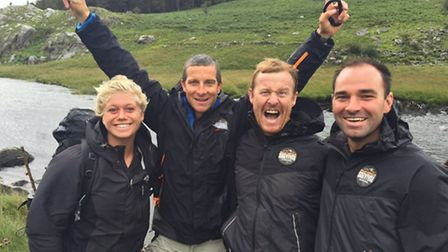 Tim (far right) with Bear (centre) and instructors Sarah Thomson and Scott Heffield,