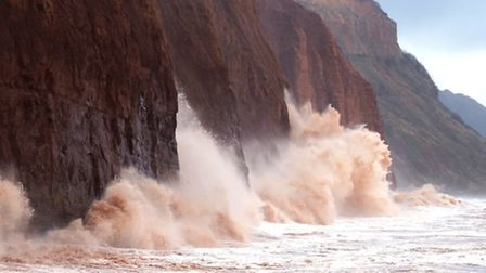 Sidmouth's eastern cliffs take a battering. Picture: Eve Mathews.