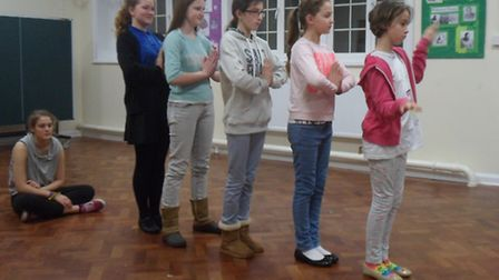The-young-panto-cast-practicin