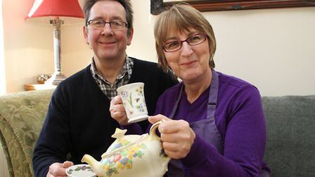 Frank Shepherd and Bev Taylor at home with a cuppa. Ref shs 02-16TI 9322. Picture: Terry Ife