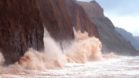 Waves batter Sidmouth's eastern cliffs. Picture: Eve Mathews
