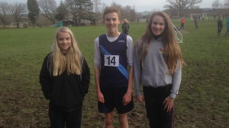 The three Sidmouth students who were involved at the Devon Schools cross Country Championships, left