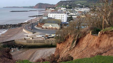 A view of the eroded cliffs from one of the gardens in Cliff Road Sidmouth. ref shs 7660-06-13TI Pho
