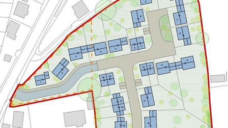 Plans for the proposed 26-home development at land adjoining Little Orchard, Newton Poppleford