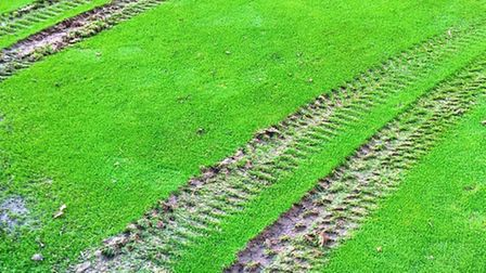 Damage to the ninth green at Sidmouth Golf Club