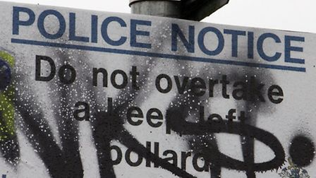 Graffiti in the Stowford Rise area. Ref shs 8890-01-16TI. Picture: Terry Ife