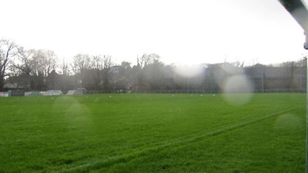 Our photographer's rain splattered lens gives an indication of conditions at Sidmouth Football Club