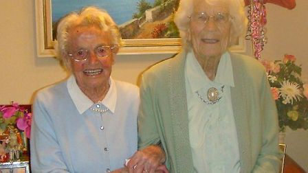 Vera Turner (right) celebrating her 100th birthday with lifelong friend Dorothy Luxton