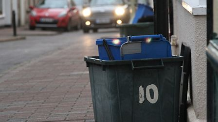 Recycling bins on Church Street this week. Ref shs 2844-04-16SH. Photo Simon Horn
