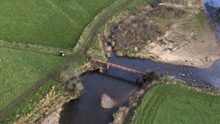 Harpford's red bridge photographed from above last month by Aerial Photovision. Erosion has worsened