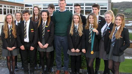 Former Olympic rower, Ben Hunt-Davis, visited Sidmouth Community College to talk about his Olympic c