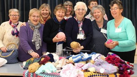 The Knit and Natter group who meet in the Sidford Social Hall. Ref shs 2019-03-16SH. Photo Simon Hor