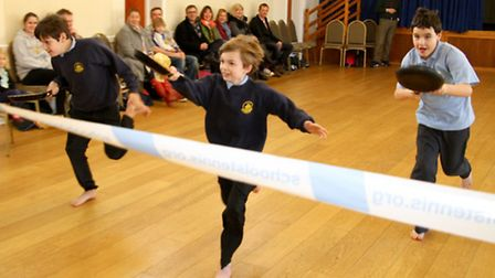 Branscombe Primary School pupils took part in pancake races in the village hall to celebrate Shrove