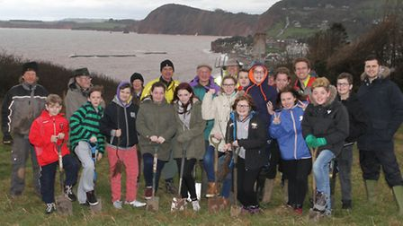 Year eight students from Sidmouth College joined Sidmouth Rotarians, Diana East of Sidmouth Arboretu