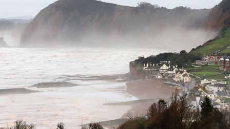 Mist and low cloud shrouds the coastline west of Sidmouth this week. Ref shs 2427-03-16SH. Photo Sim