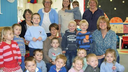 Staff and pupils at Sidmouth's Apple Tree Pre-School