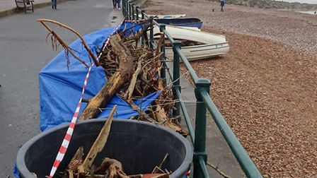 The beach clean produced a mountain of driftwood over the weekend. Ref shs 1622-03-16SH. Photo Simon