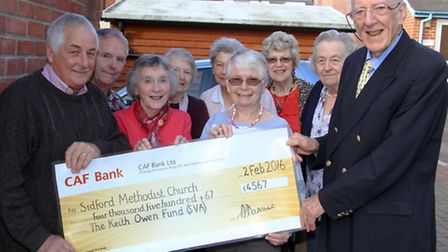 Members of Sidford Methodist Church were grateful for a donation from the SVA's Keith Owen Fund to h