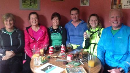 Sidmouth runners at the Luppit Inn during the Blackdown Beast