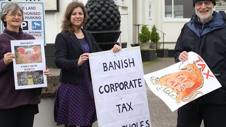 Councillor Claire Wright joined protesters outside the Sidmouth Conservative Club on Monday morning.